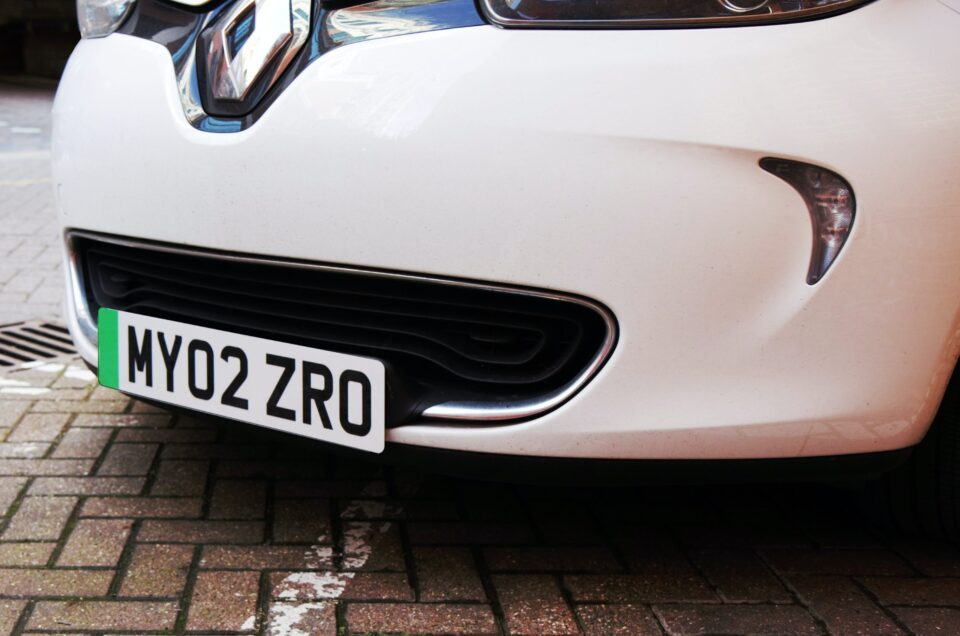 Green number plates set for Electric cars.